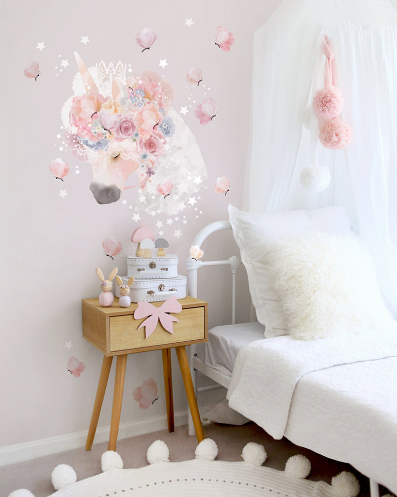 Unicorn & Butterflies Wall Sticker - Schmooks - Australian made - removable wall stickers - kids wall decals - nursery decor - nursery design - kids wall art - wall stickers - original artwork - original Australian wall art