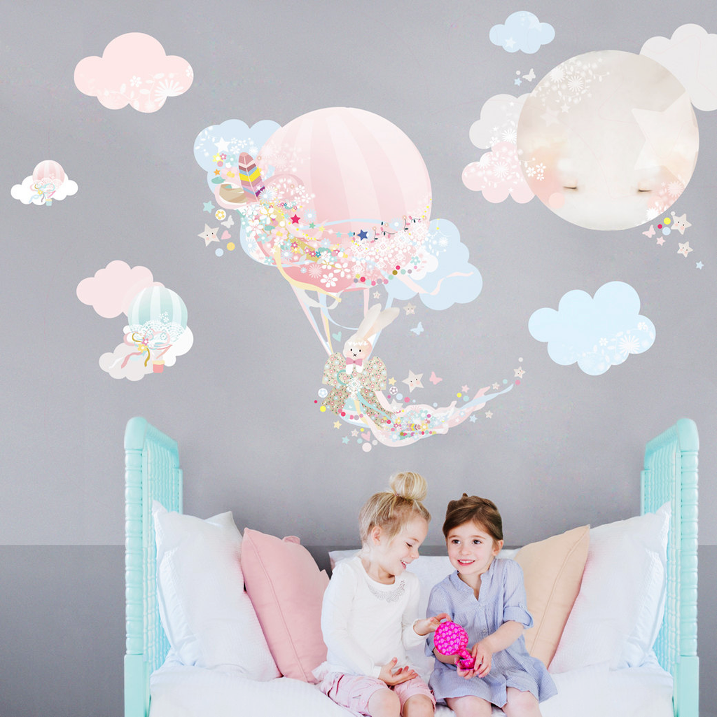 Hot Air Balloon Wall Sticker - Girl - Schmooks