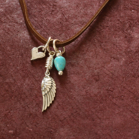 Little Wing Leather Necklace with Charms