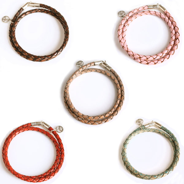 Leather and Sterling Wrist Wrap (15 Colors) / Trace Double