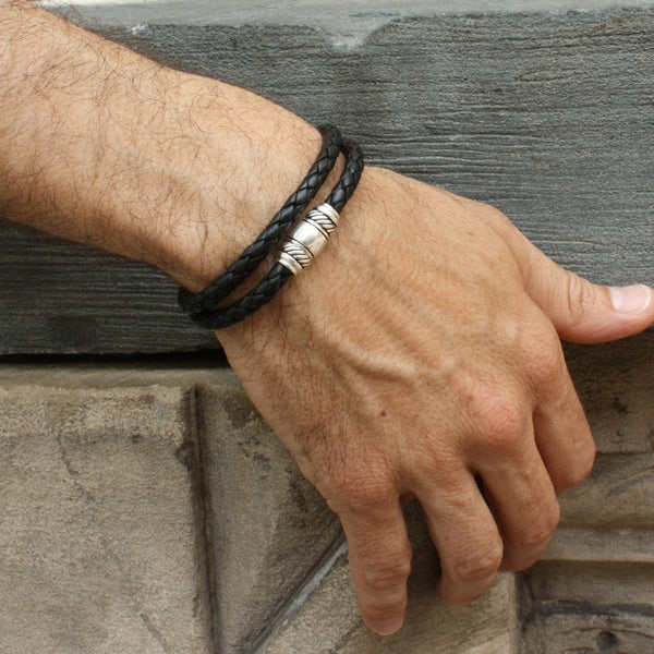 Leather Wrap Bracelet with Magnetic Clasp for Men / Taylor