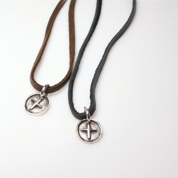 Cross Medallion Leather Necklace / Leather and Sterling Silver