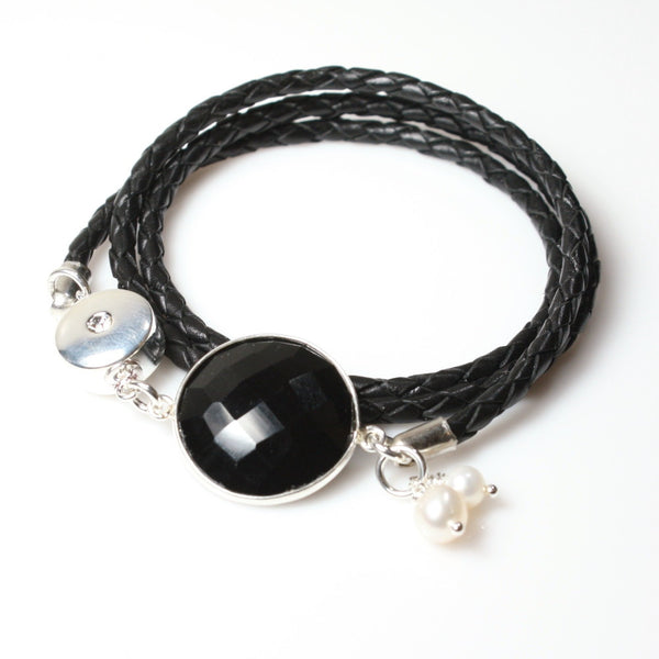 Women's Leather and Black Onyx Custom Wrap Bracelet  / Angelina