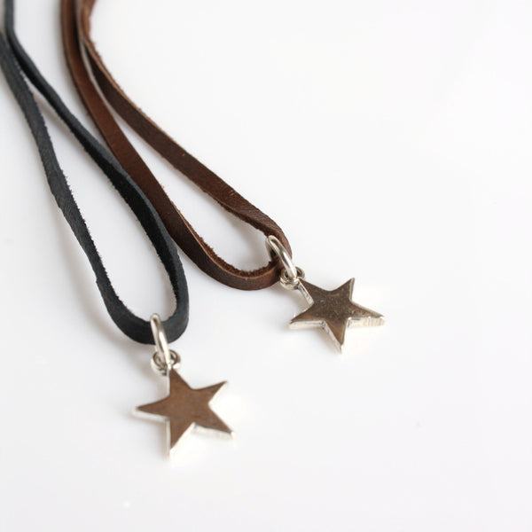 Silver Star Leather Necklace / Leather And Sterling