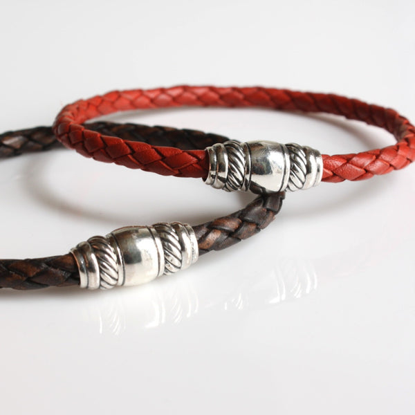 Braided Leather Bracelet with Sterling Silver Magnetic Clasp / Skye