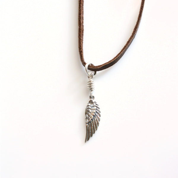 Little Wing Necklace / Leather and Sterling Silver