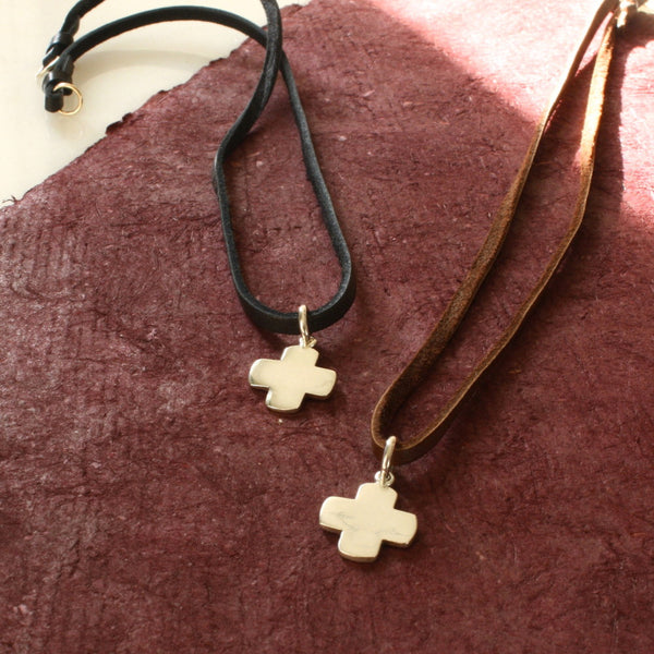 Greek Cross Leather Necklace / Sterling Silver and Deerskin Leather