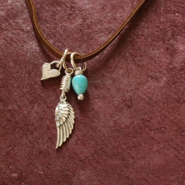 Little Wing Necklace with Charms / Deerskin Leather and Sterling Silver