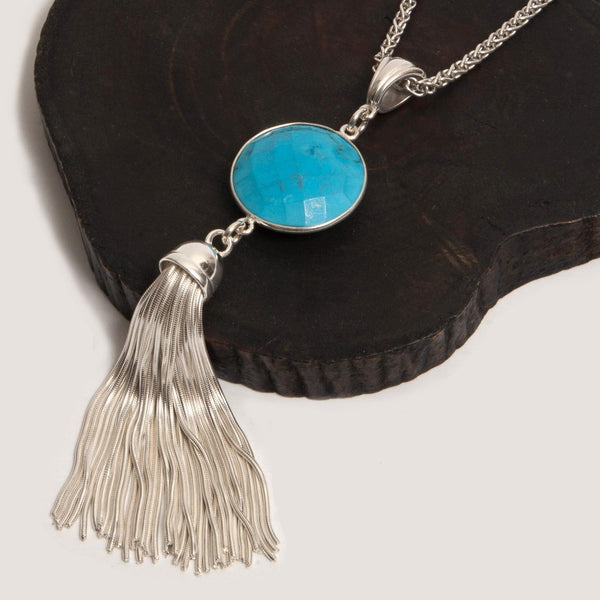 Silver and Turquoise Tassel Necklace