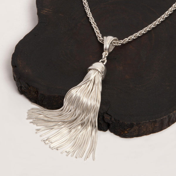 Silver Tassel Pendant Necklace