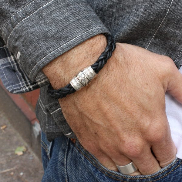 Black Chunky Braided Bracelet with Magnetic Clasp For Men