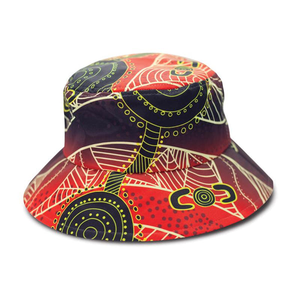Aboriginal Bucket Hat Waterholes Adults and Kids by BW Tribal 85df3fe5481