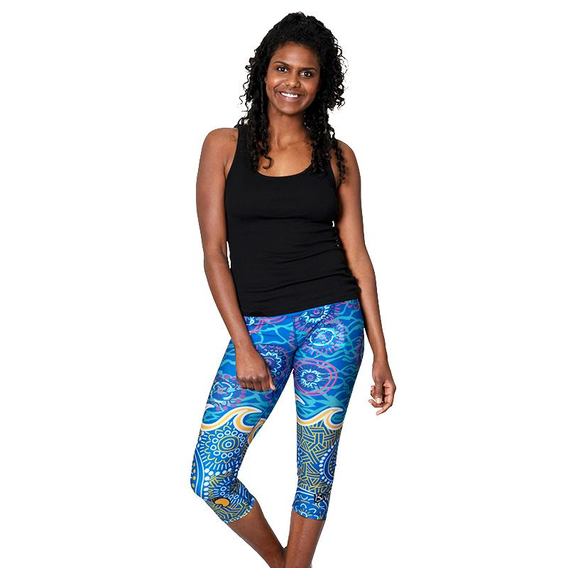 Grounded In Water Womens 3/4 Leggings - BW Tribal