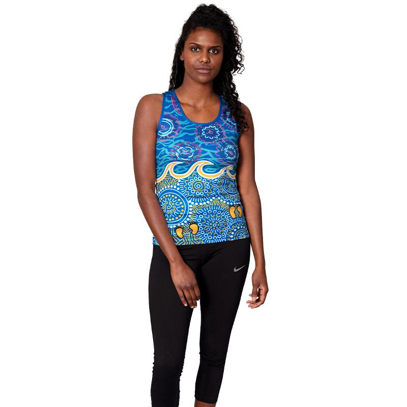Grounded In Water Womens Cross Back Singlet - BW Tribal