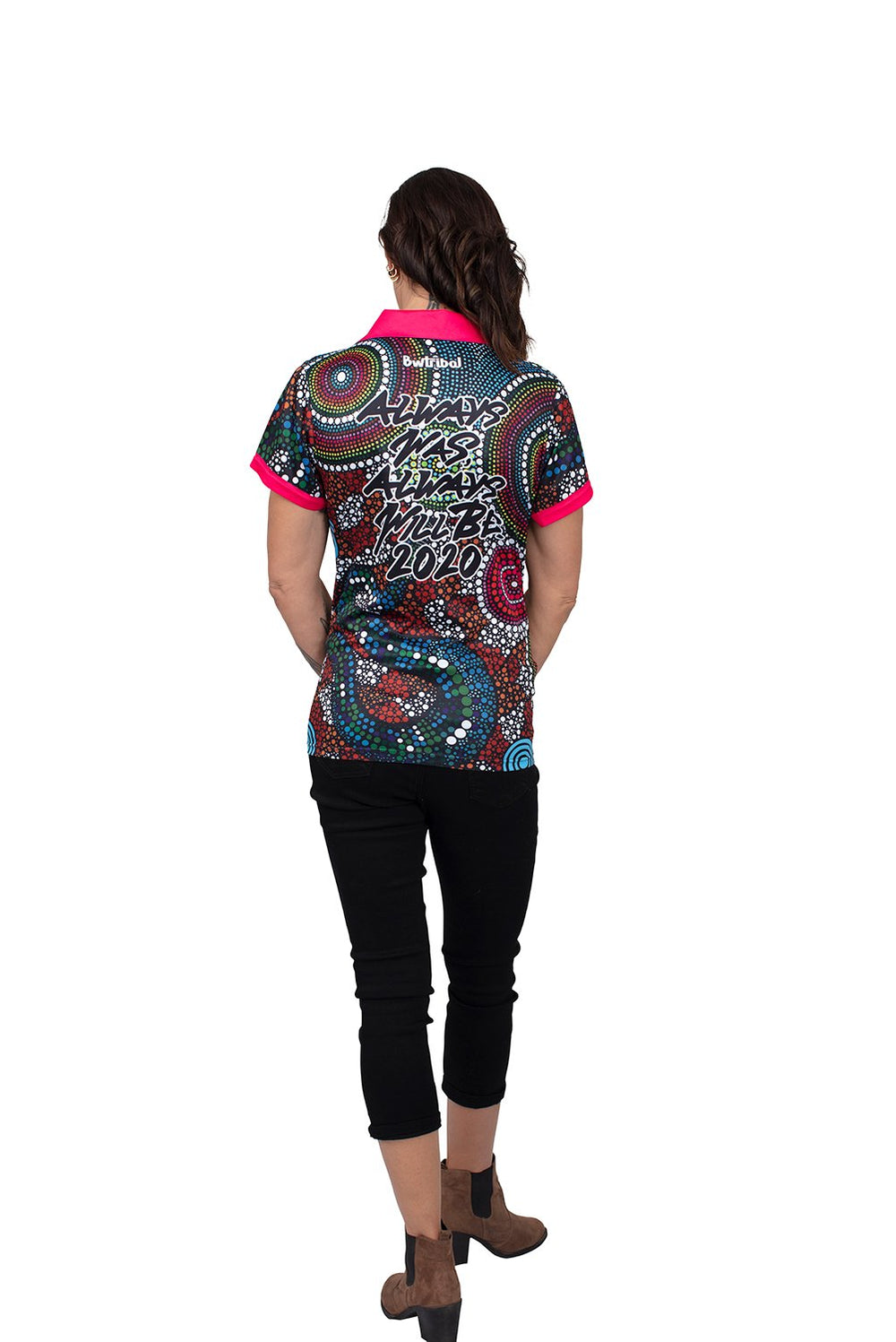 Wagual (Rainbow Serpent) Women's Polo - BW Tribal