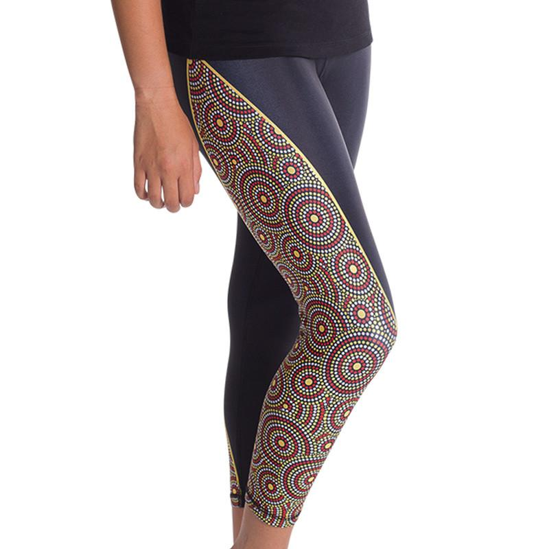 Sunrise Womens 3/4 Leggings - BW Tribal