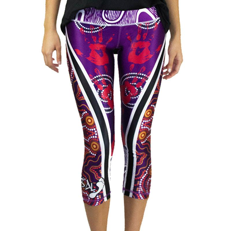 Handprints Womens 3/4 Leggings - BW Tribal
