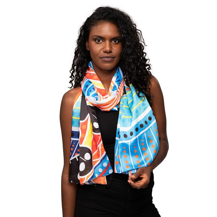 Aboriginal Art Womens Scarf NAIDOC Week 2019 Two Parties by BW Tribal