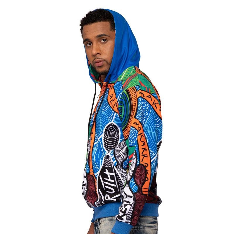 Makarrata's Journey Mens Hoodie - BW Tribal