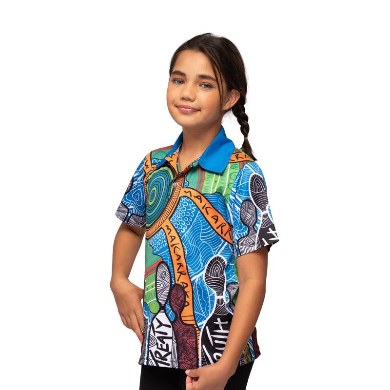 Aboriginal Art Kids Polo Shirt NAIDOC Week 2019 Makarrata