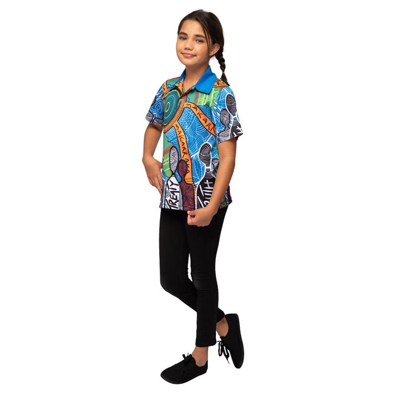 Aboriginal Art Kids Polo Shirt NAIDOC Week 2019 Makarrata's Journey by BW Tribal