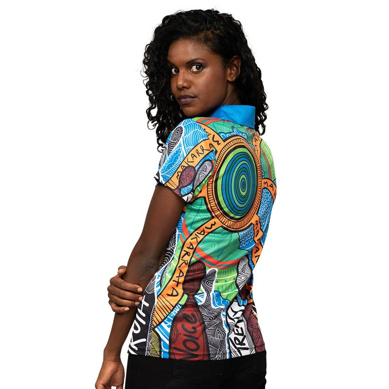 Makarrata's Journey Womens Polo - BW Tribal