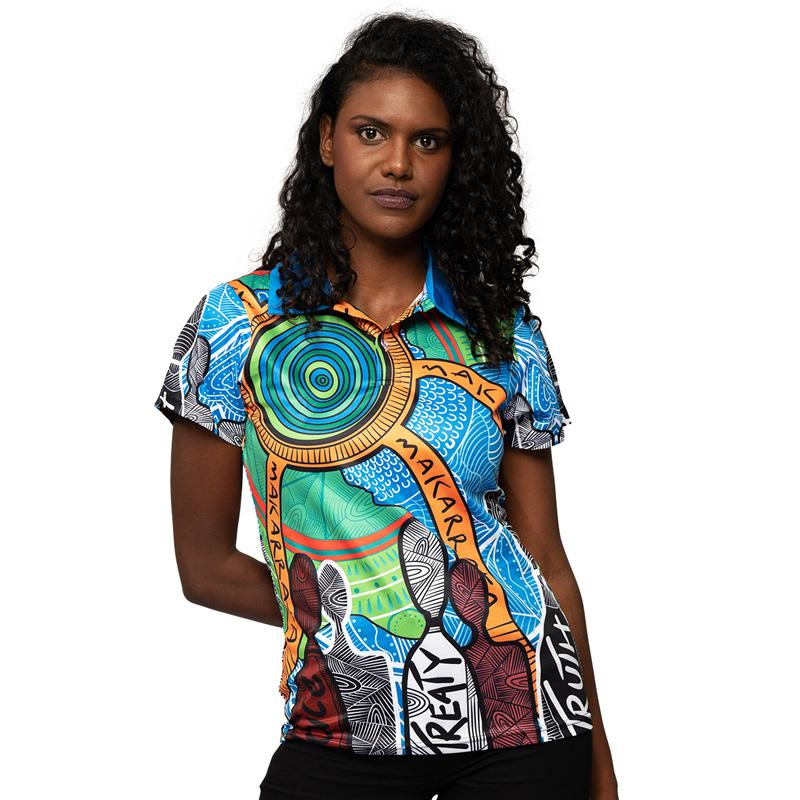 Aboriginal Art Womens Polo Shirt NAIDOC Week 2019 Makarrata