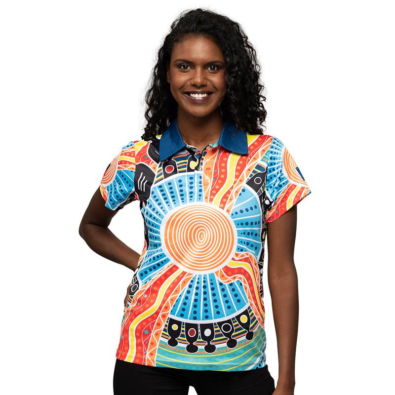 Aboriginal Art Womens Polo Shirt NAIDOC Week 2019 Two Parties by BW Tribal