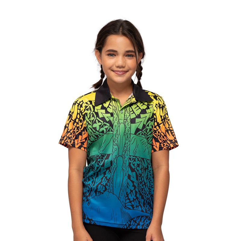 Torres Strait Islander Art Kids Polo Shirt NAIDOC Week 2019 Voice Truth & Treaty by Joel Sam BW Tribal