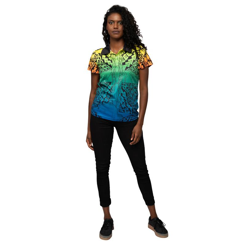 Torres Strait Islander Art Womens Polo Shirt NAIDOC Week 2019 Voice Truth & Treaty by Joel Sam BW Tribal