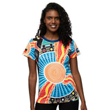 Aboriginal Art Womens T-Shirt Tee NAIDOC Week 2019 Two Parties by BW Tribal