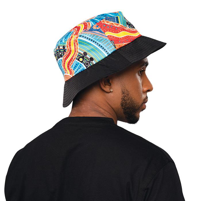 Aboriginal Art Bucket Hat Adult Kids NAIDOC Week 2019 Two Parties by BW Tribal