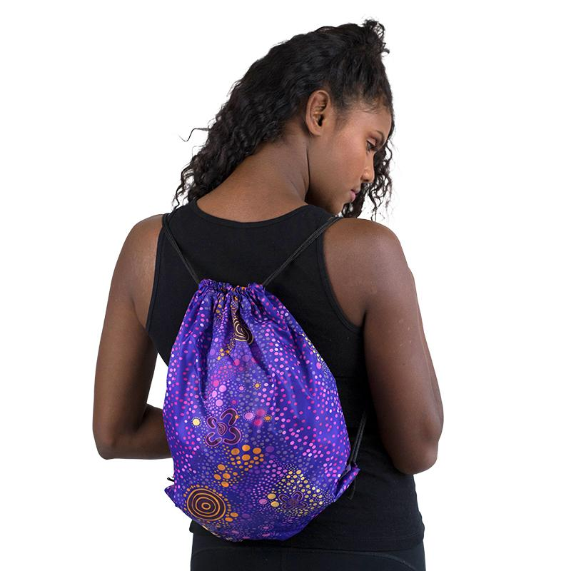 Purple Desert Flower Drawstrings Bag
