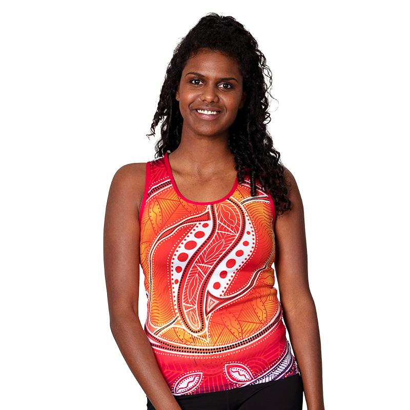 Pink Seashells Womens Cross Back Singlet - BW Tribal