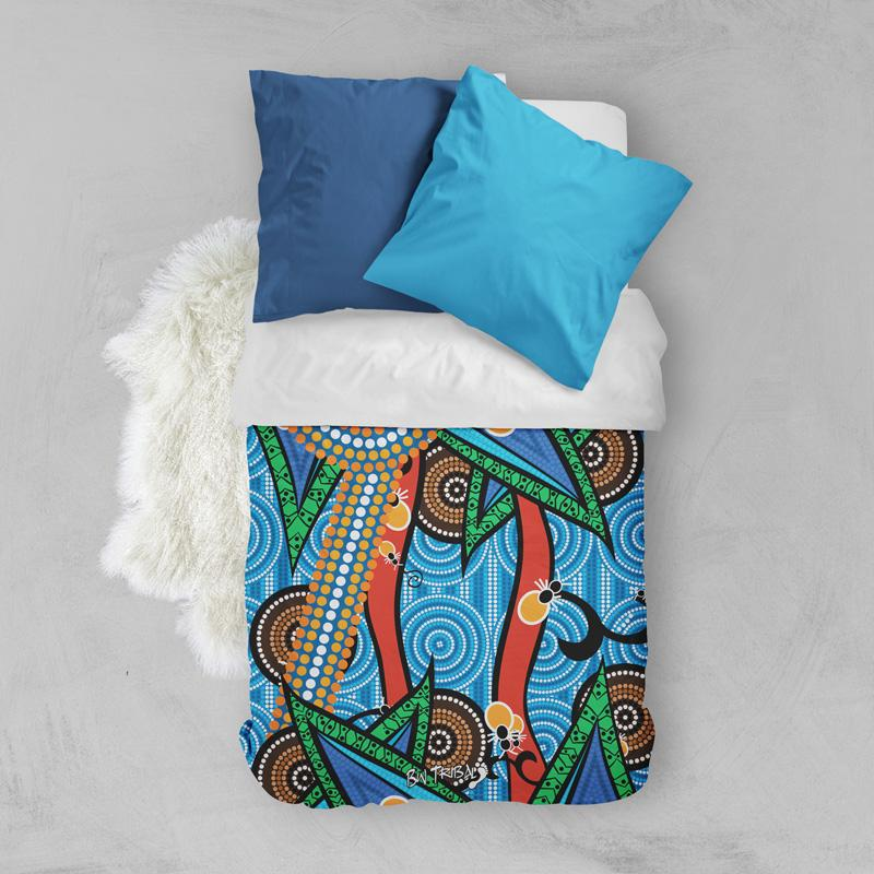 Honey Ant Dreaming Aboriginal Quilt Duvet Cover by BW Tribal