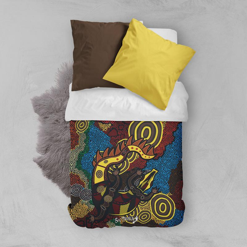 Crocodile Dreaming Aboriginal Quilt Duvet Cover by BW Tribal