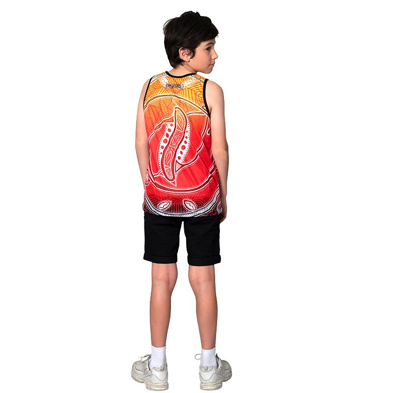 Red Seashells Kids Singlet - BW Tribal