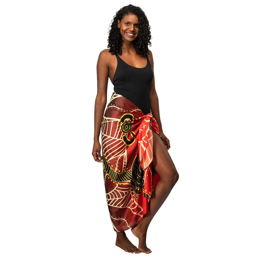 Waterholes Aboriginal Sarong Beach by BW Tribal