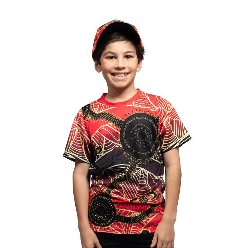 Waterholes Australian Aboriginal Kids Tee Shirt by BW Tribal