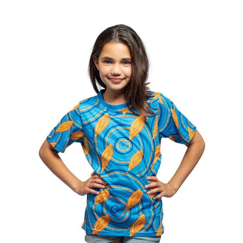 Medicine Leaves Aboriginal Kids Tee Shirt BW Tribal Signature Range by Karla McGrady
