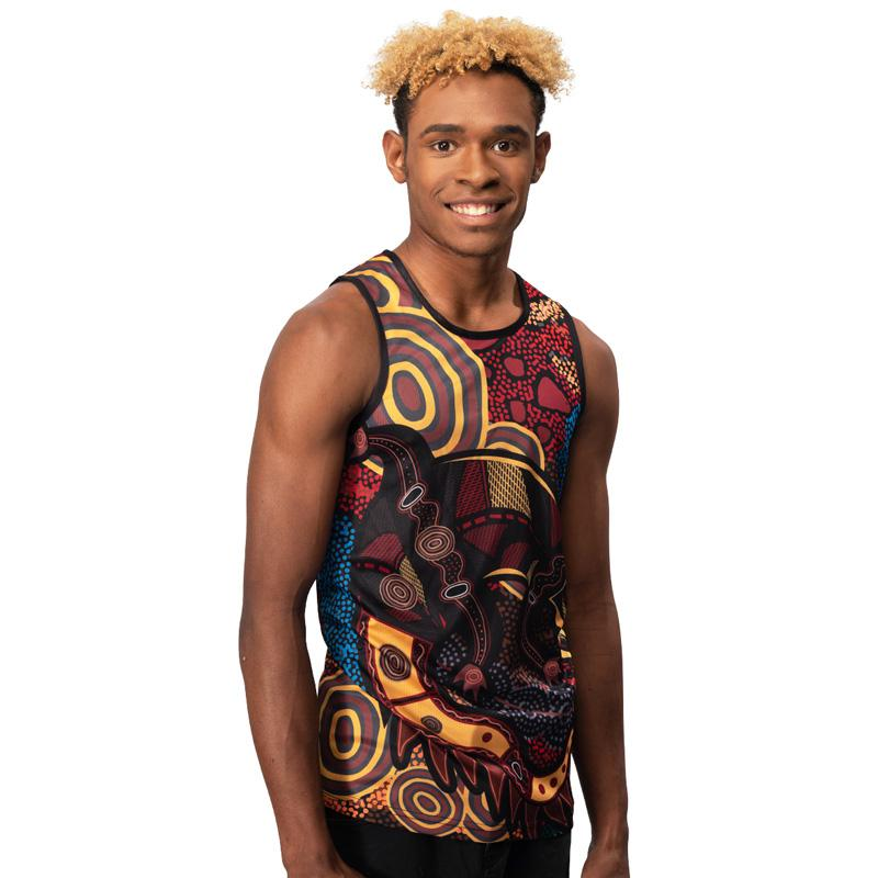 Crocodile Dreaming Aboriginal Mens Singlet by BW Tribal