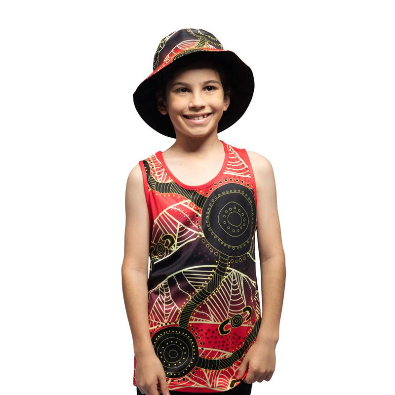 Waterholes Australian Aboriginal Kids Singlet by BW Tribal