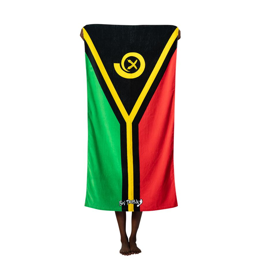 South Sea Island Flag Beach Towel by BW Tribal