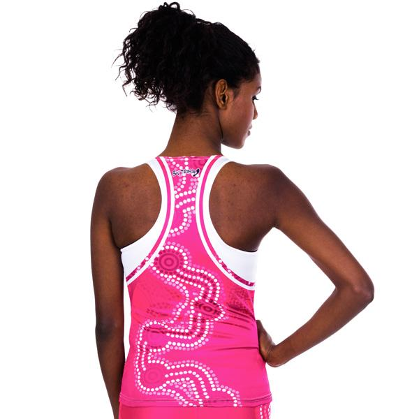 Indigenous Aboriginal Active Wear Pink and White Songlines Womens Cross Back Singlet