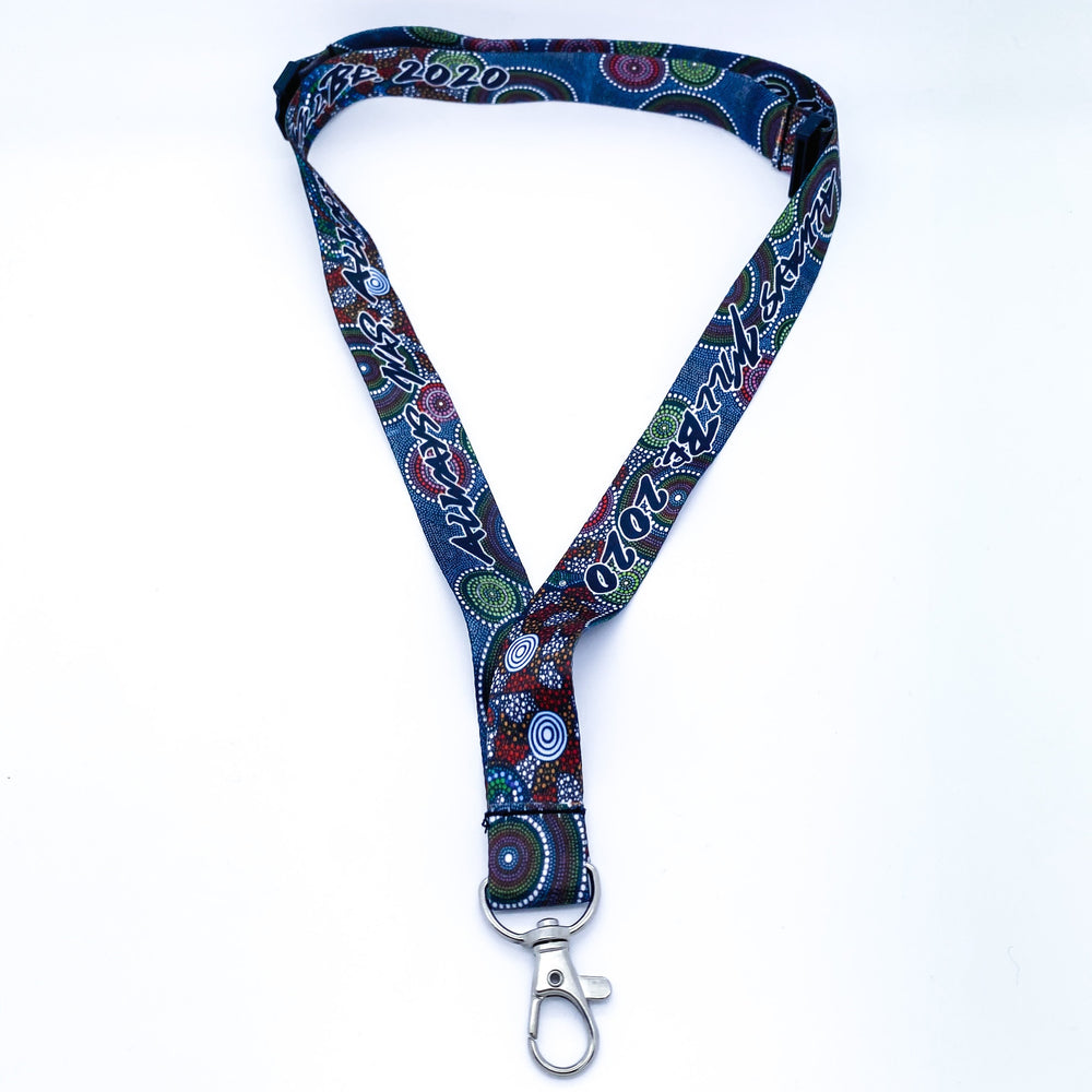 Wagual (Rainbow Serpent) Sublimated Lanyards - BW Tribal