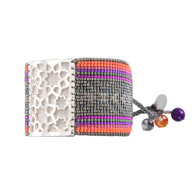 Bracelet Star Flower Grey Fuchsia Purple