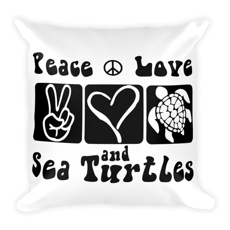 Default Title Peace Love Sea Turtles Square Pillow