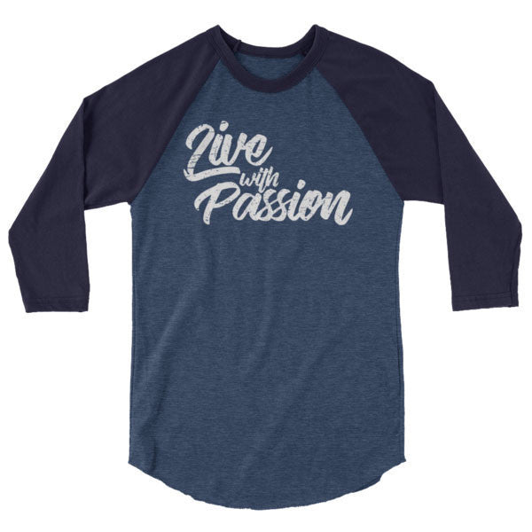 Heather Denim/Navy / XS Live with Passion Raglan Tee