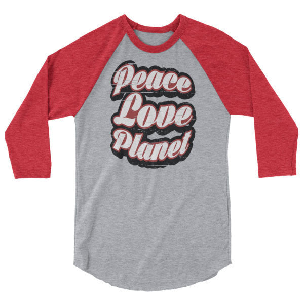 Heather Grey/Heather Red / XS Retro Peace Love Planet Raglan Tee