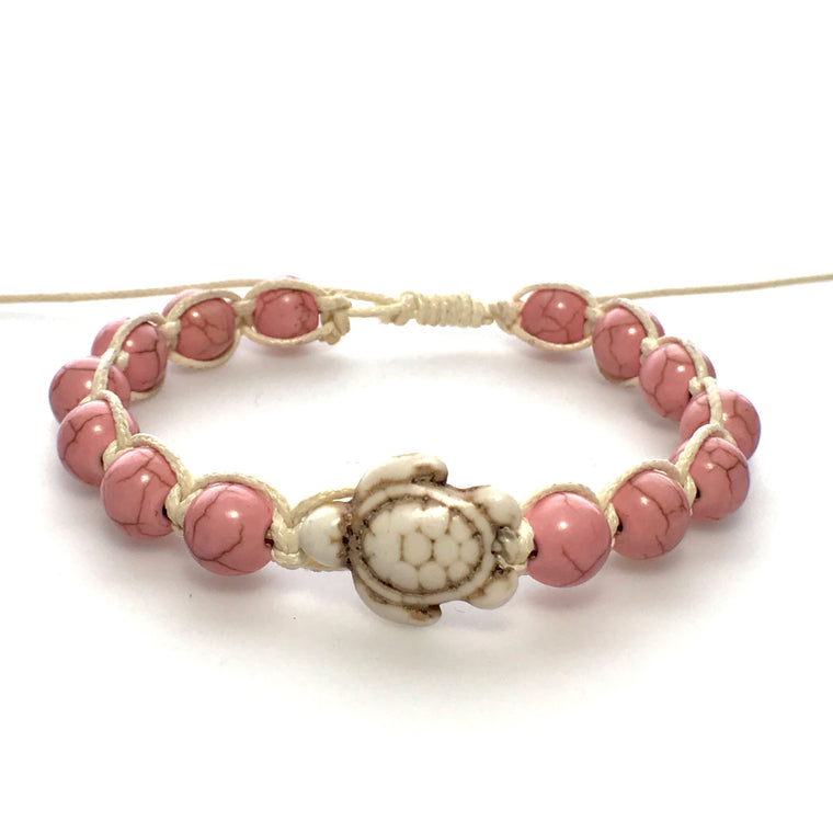 Pink Adjustable Stone Bead Bracelets